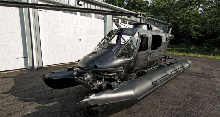 An old written off Helicopter turned an Amphibious Road Racer