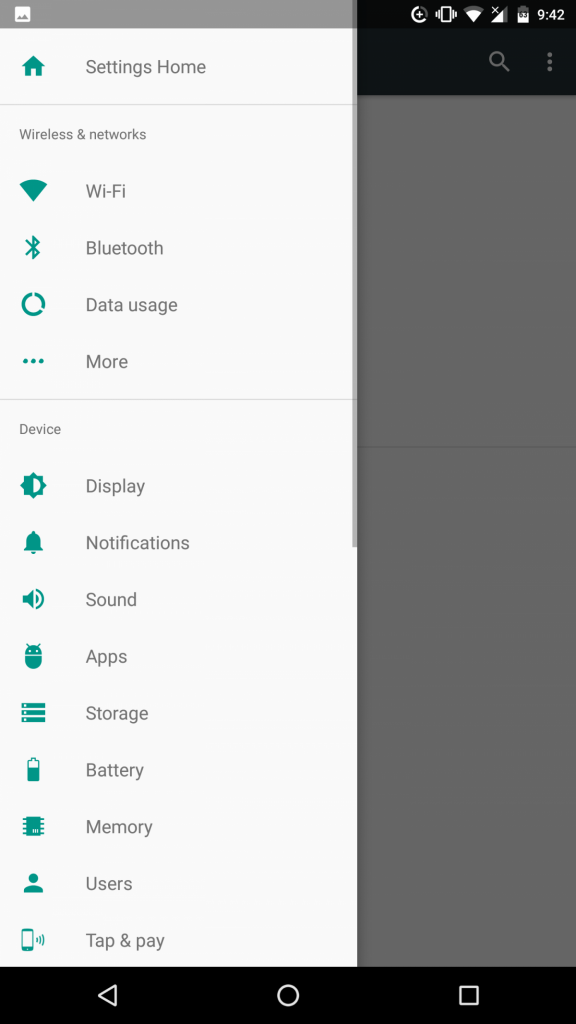 android feature menu