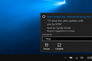 Cortana will recognize, make note of and remind you of the promises you made in emails