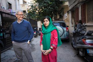 apple tim cook and malala Yousafzai the malala fund