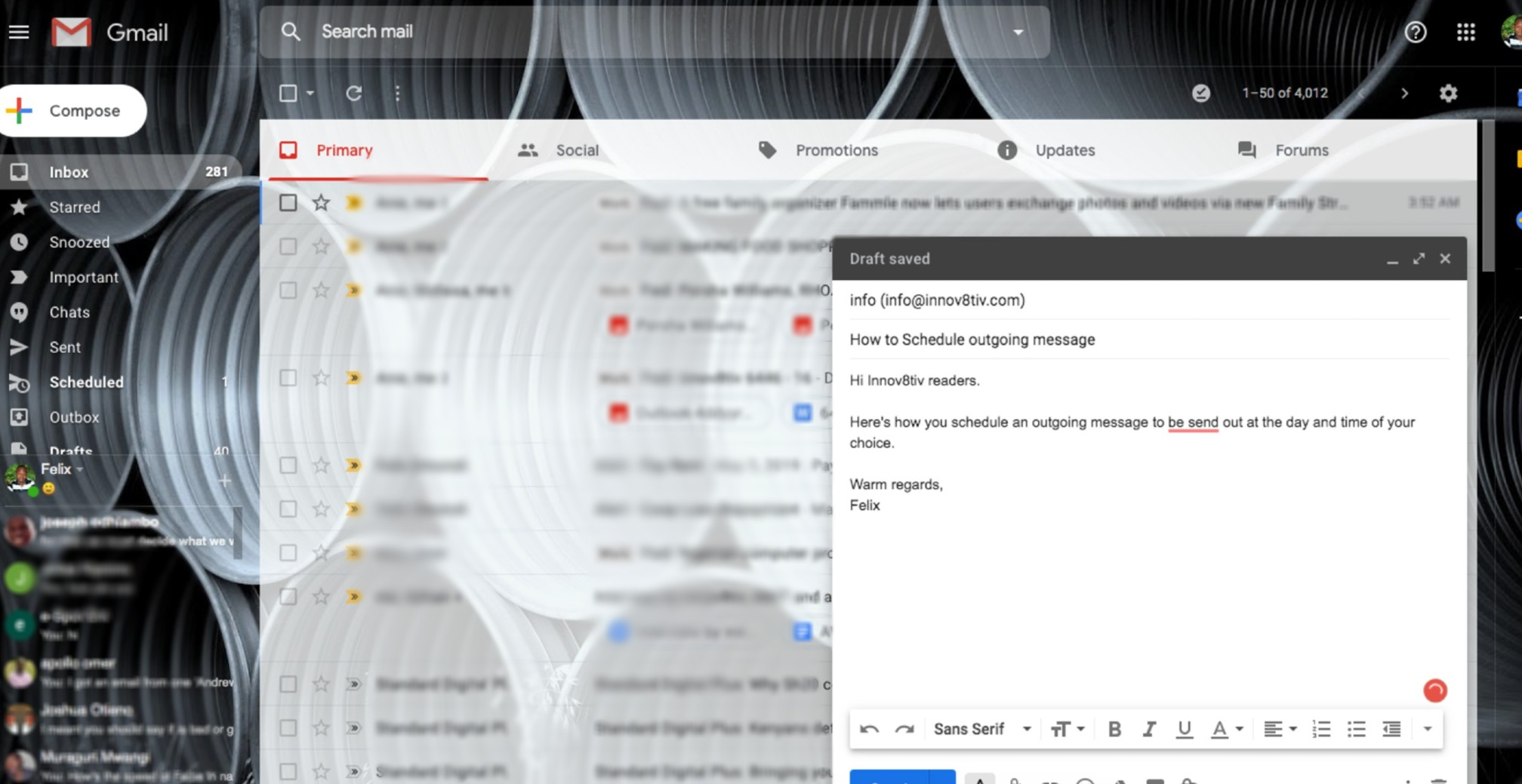 how to schedule sending email on gmail